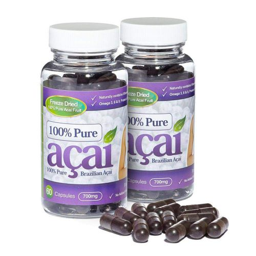 100% Pure Acai Berry 700mg with No Fillers or Bulking Agents - 120 Capsules