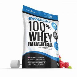 EvoSport 100% Whey Protein Powder 1kg - Raspberry