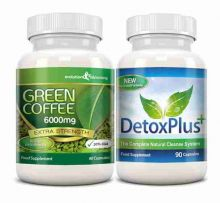 Green Coffee Bean Extract 6000mg Detox Combo Pack - 1 Month Supply