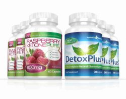 Raspberry Ketone Pure 600mg & DetoxPlus Cleanse Combo Pack - 3 Month Supply