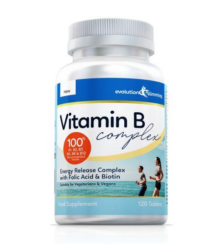 Vitamin B Complex Tablets, 100% RDA, Suitable for Vegetarians & Vegans - 120 Tablets