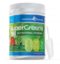 Super Greens Powder with 17 Super Fruits & Vegetables - 500g Tub with Scoop